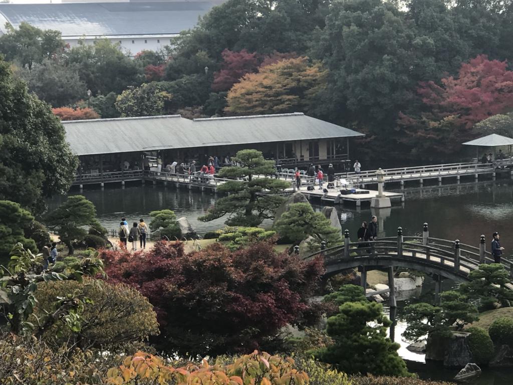 広島県 三景園 里の池からの 潮見亭