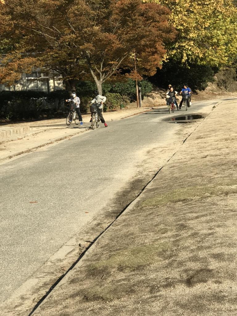 11月のうさぎ島(大久野島)修学旅行生 自転車で島内1周