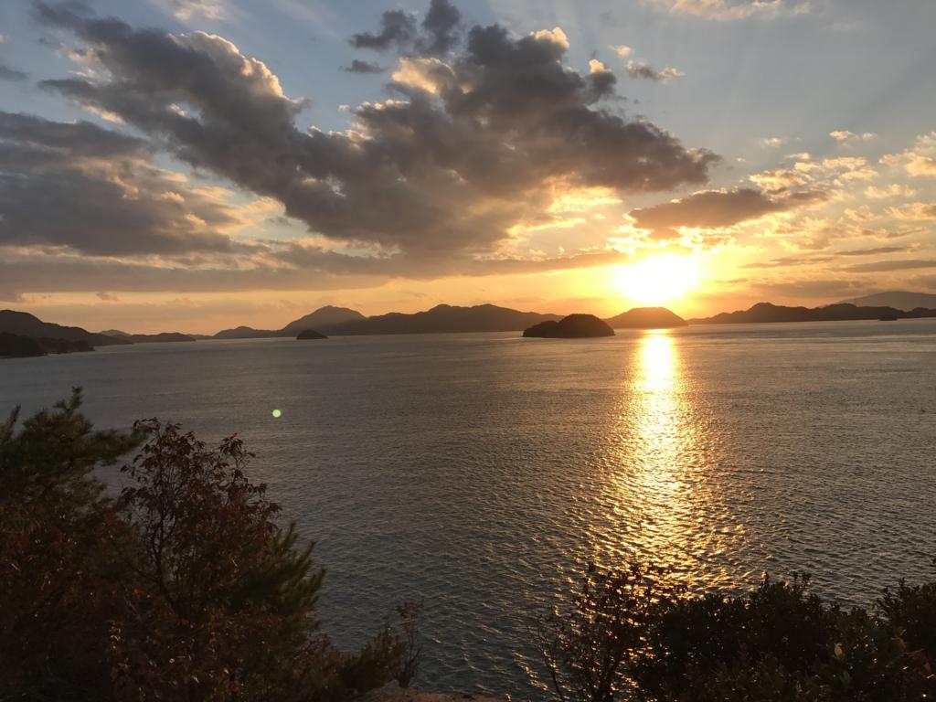 11月のうさぎ島(大久野島)日の入り 15分前