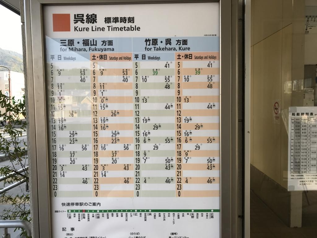 JR忠海駅 呉線 時刻表