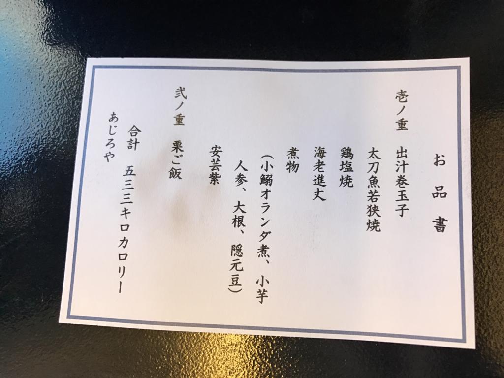 広島空港-羽田空港 ANA プレミアムクラス お弁当 お品書き