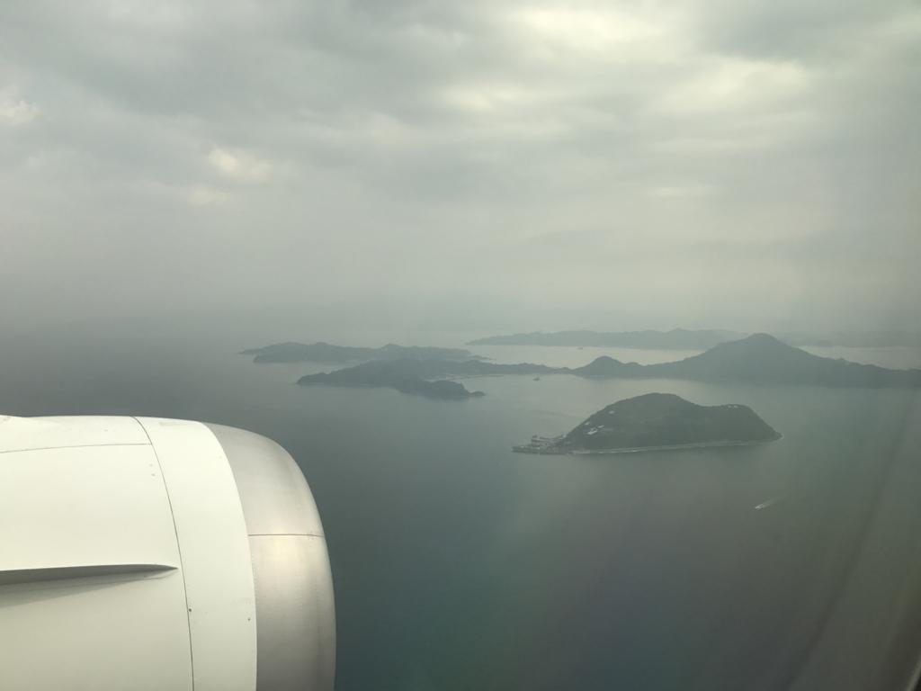 羽田空港から松山空港 ANA585便 松山周辺 瀬戸内海の島々