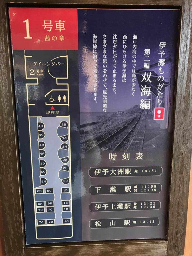 予讃線 観光列車 「伊予灘ものがたり」1号車 茜の章 車内マップ width=