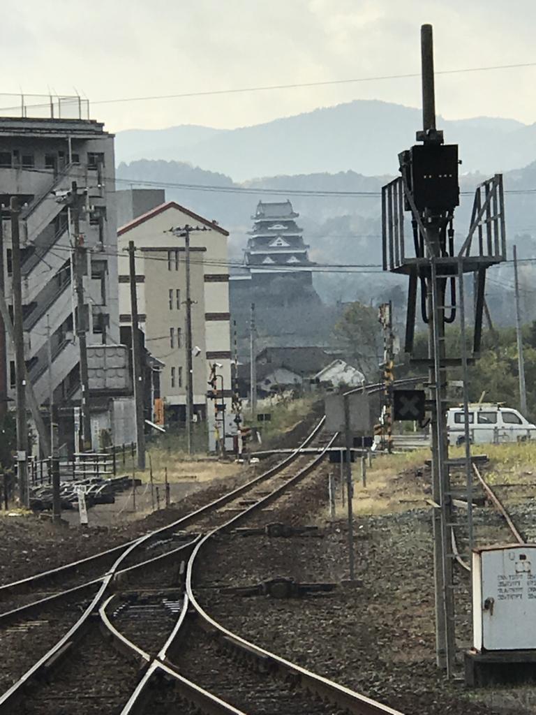 予讃線 伊予大洲駅 八幡浜方面のホームの端より 大洲城