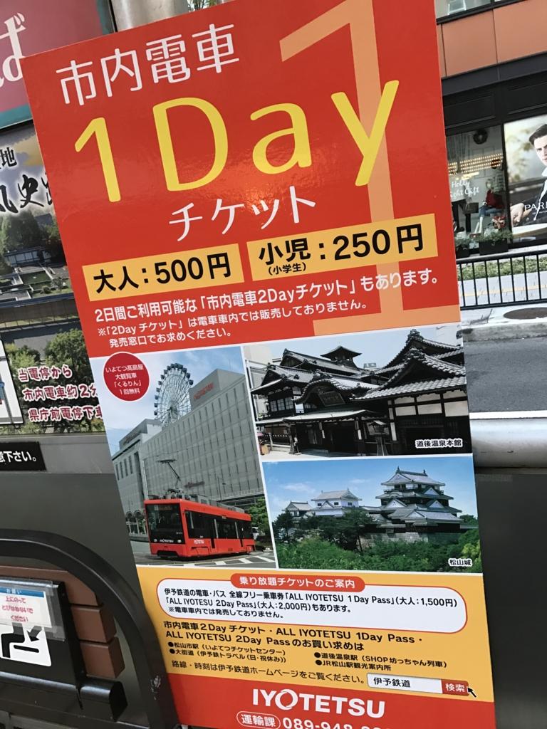 愛媛県 松山市 市内電車(路面電車) 1dayパス 広告