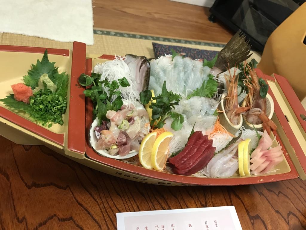 千葉県富津市金谷「天然温泉 海辺の湯」夕食 舟盛り