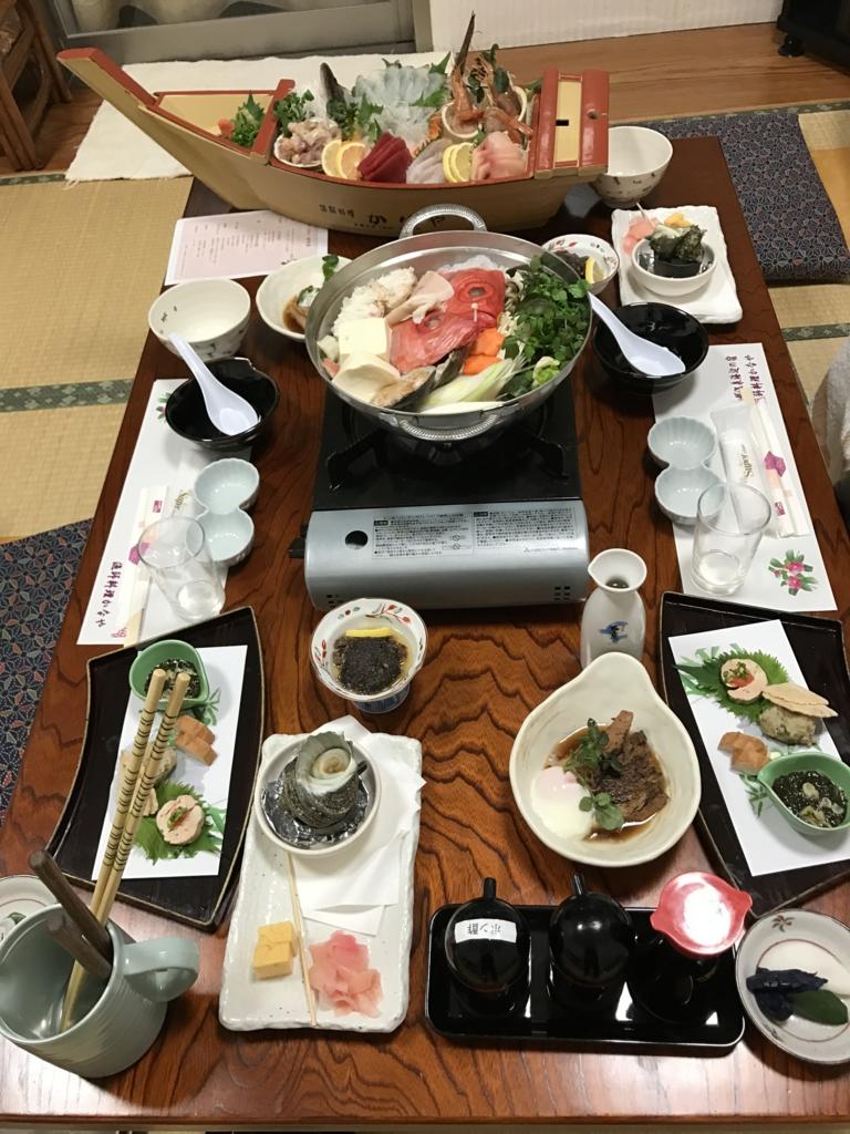 千葉県富津市金谷「天然温泉 海辺の湯」夕食のテーブル
