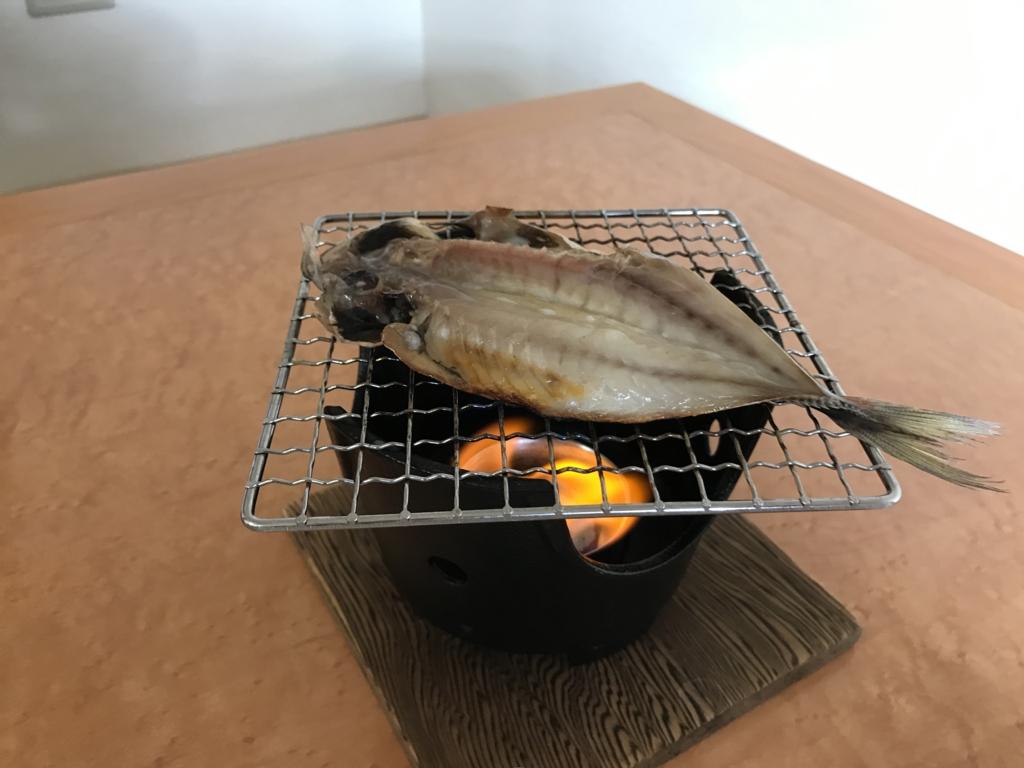 千葉県富津市金谷「天然温泉 海辺の湯」朝食 房総名物の自家製あじの干物
