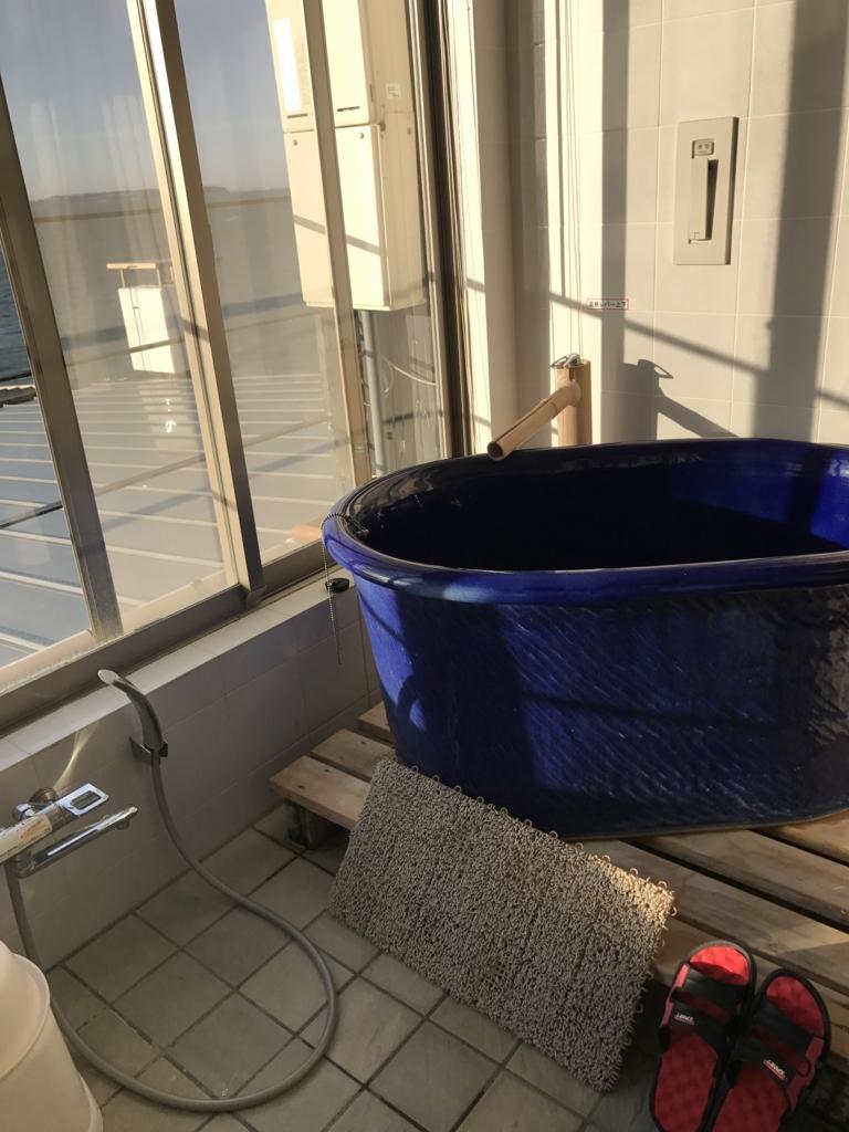 千葉県富津市金谷「天然温泉 海辺の湯」部屋の坪風呂