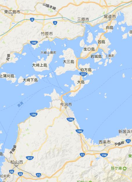 松山と「瀬戸内しまなみ海道」地図
