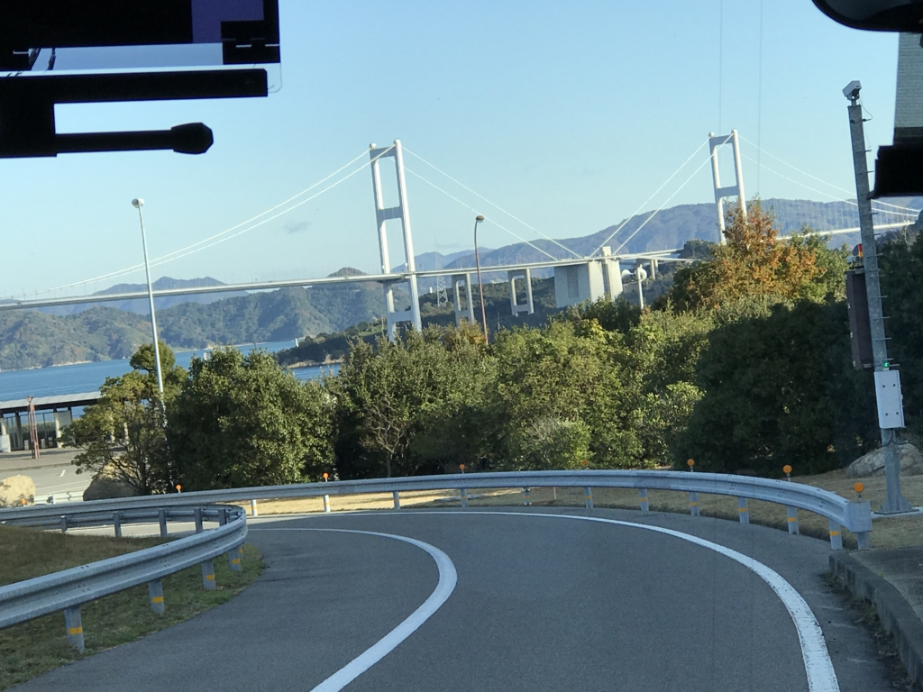 「しまなみ海道」高速バス「キララ エクスプレス」来島海峡BSバス停付近