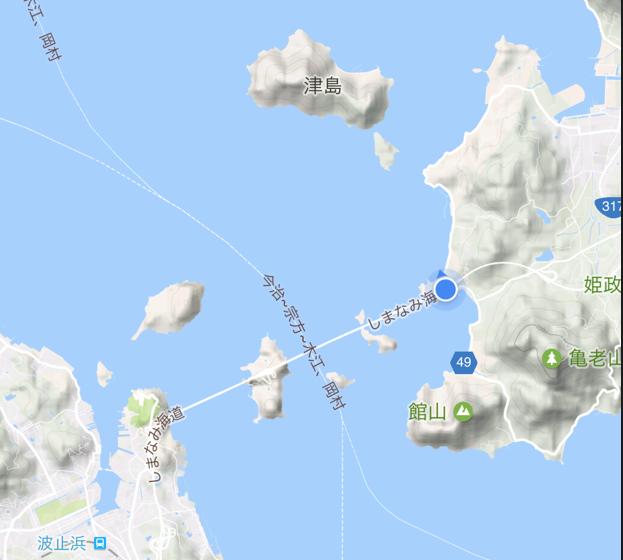 「しまなみ海道」高速バス「キララ エクスプレス」乗車中 来島海峡大橋 の位置