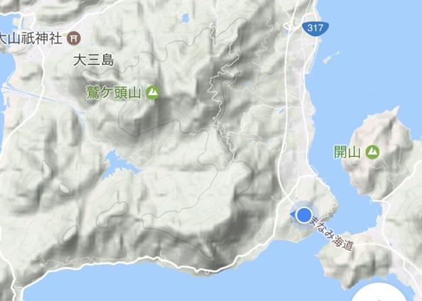 「しまなみ海道」高速バス「キララ エクスプレス」乗車中 大三島橋 の位置
