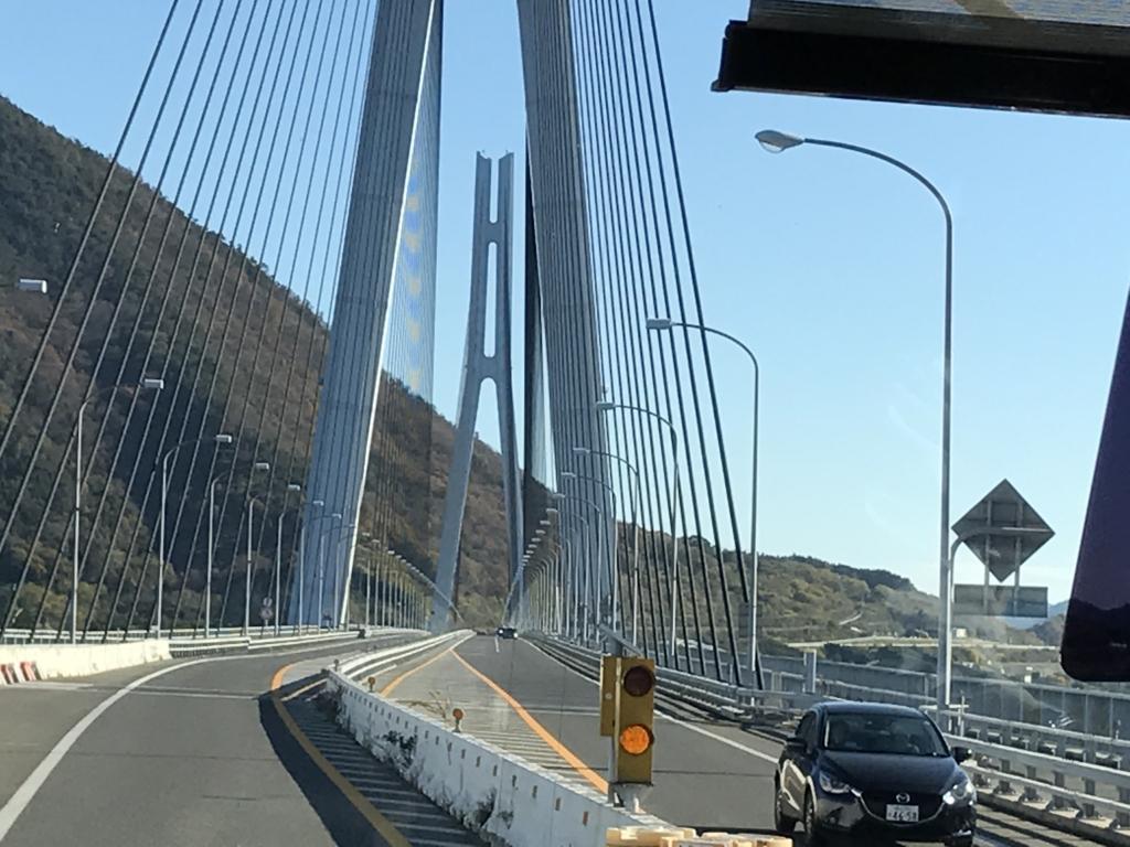 「しまなみ海道」高速バス「キララ エクスプレス」多々羅大橋 走行中