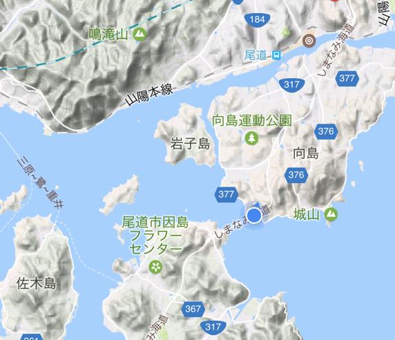 「しまなみ海道」高速バス「キララ エクスプレス」乗車中 因島大橋の位置