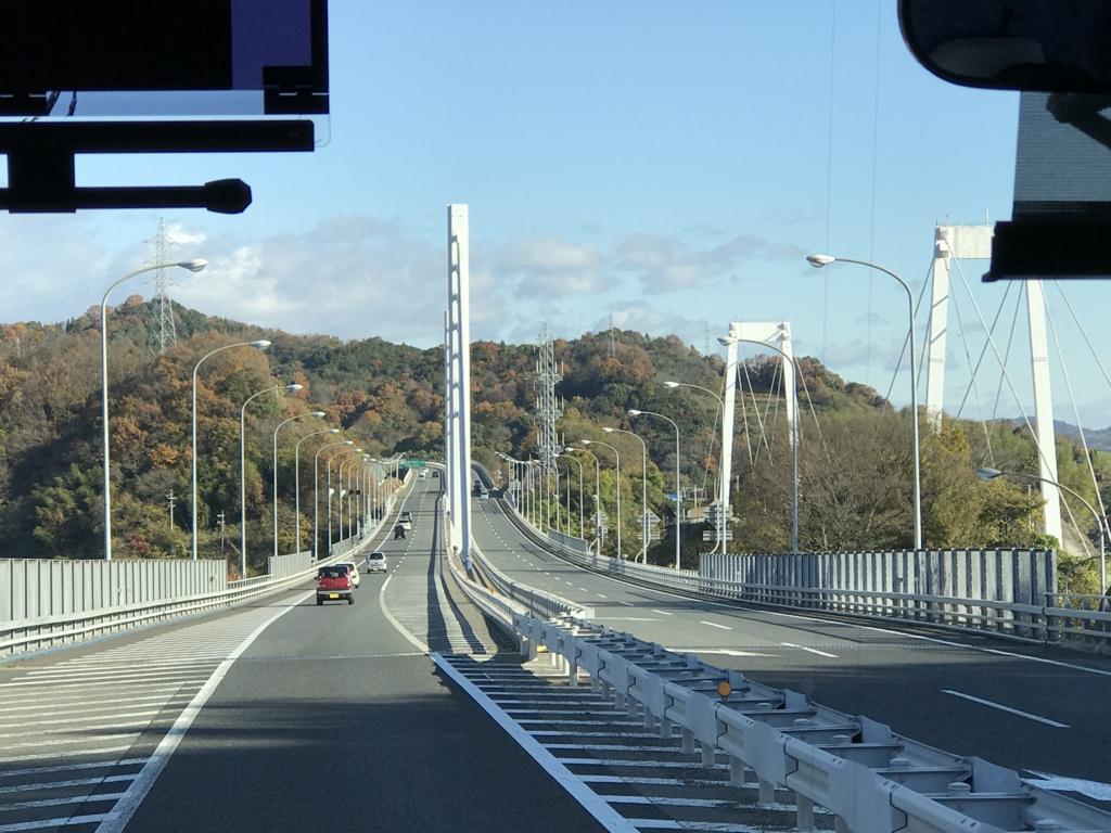 「しまなみ海道」高速バス「キララ エクスプレス」新尾道大橋 走行中