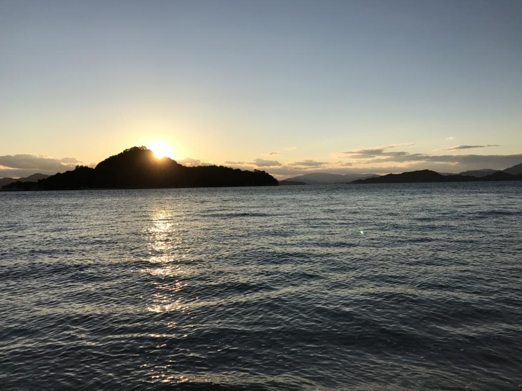 うさぎ島(大久野島)の12月 日の入り