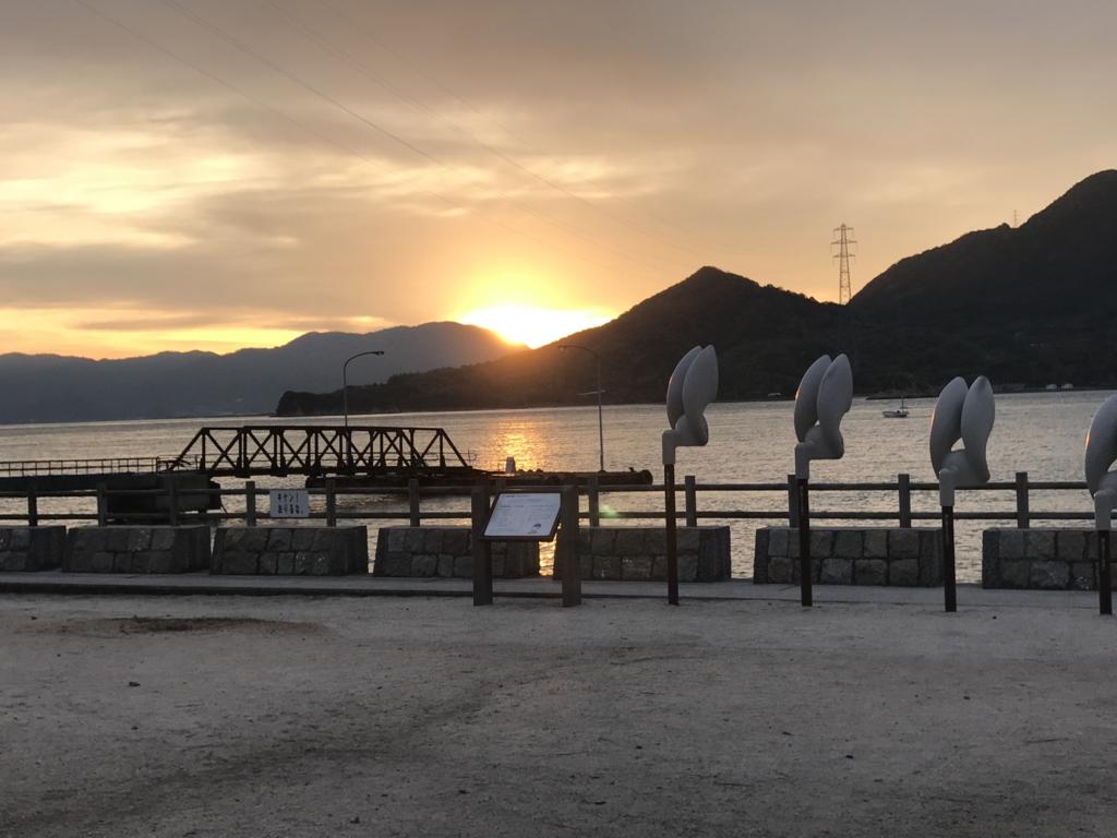 うさぎ島(大久野島)の12月 日の出