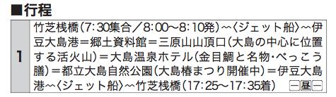 「ジェット船で行く伊豆大島約5000本のツバキが咲き誇る椿まつり」ツアー行程