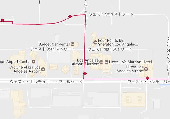 ロサンゼルス ヒルトンエアポートホテル付近 BlueBus Route3バス停