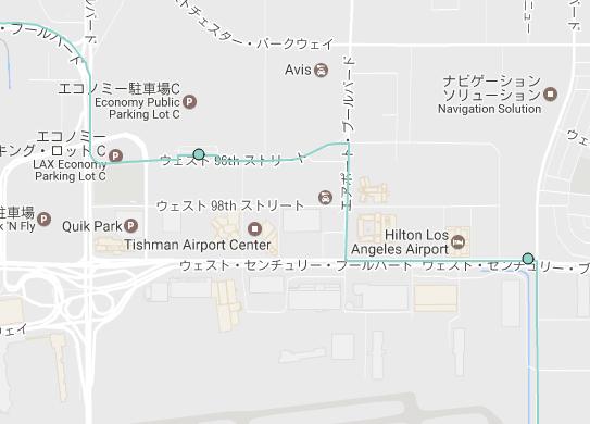 ロサンゼルス ヒルトンエアポートホテル付近 BlueBus Rapid3バス停
