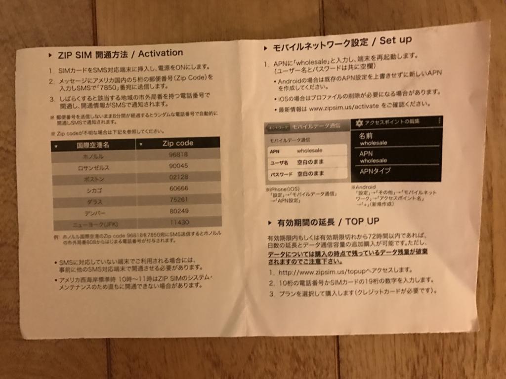 ZIP SIM 通話+SMS+データ通信1GB、14日間 アメリカ用プリペイドSIM マニュアル