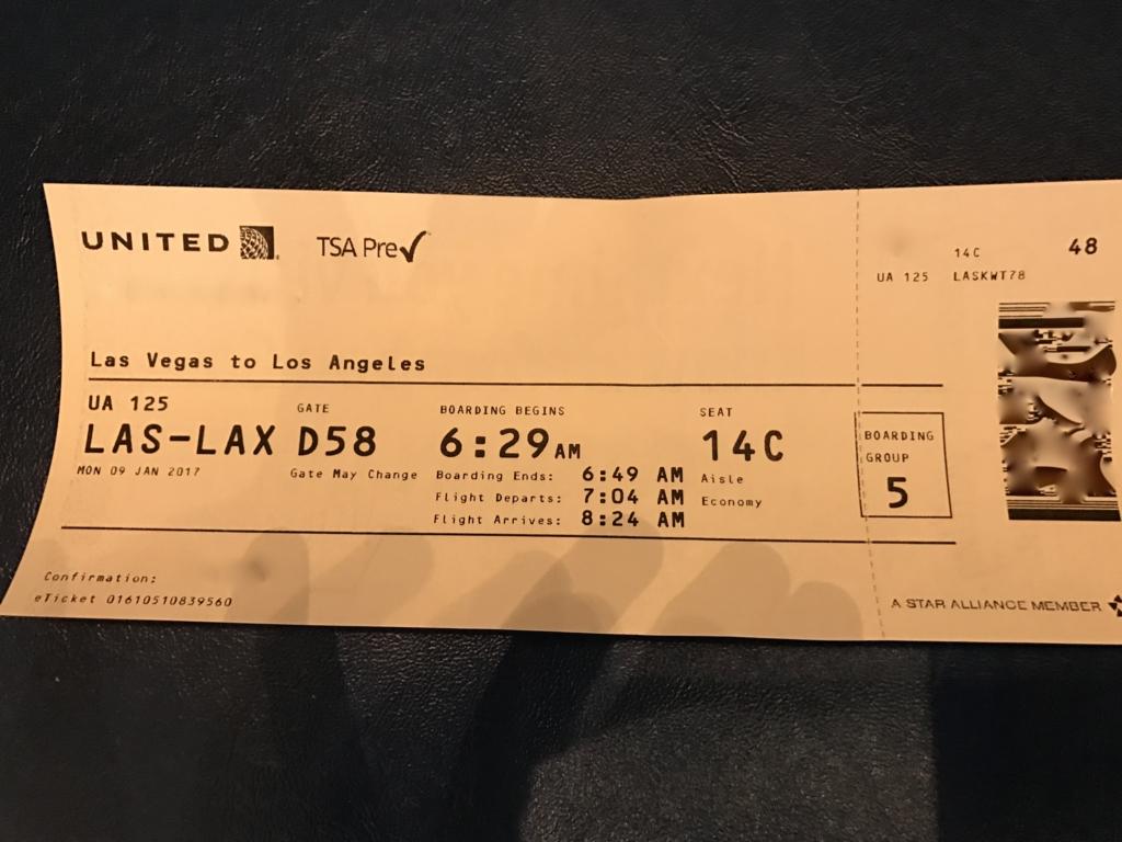 ラスベガス-ロサンゼルス ユナイテッド 搭乗券