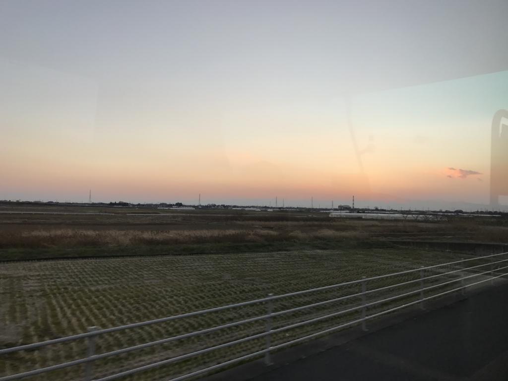 2017年1月3日の夕日 足利の料亭「伊萬里」へ
