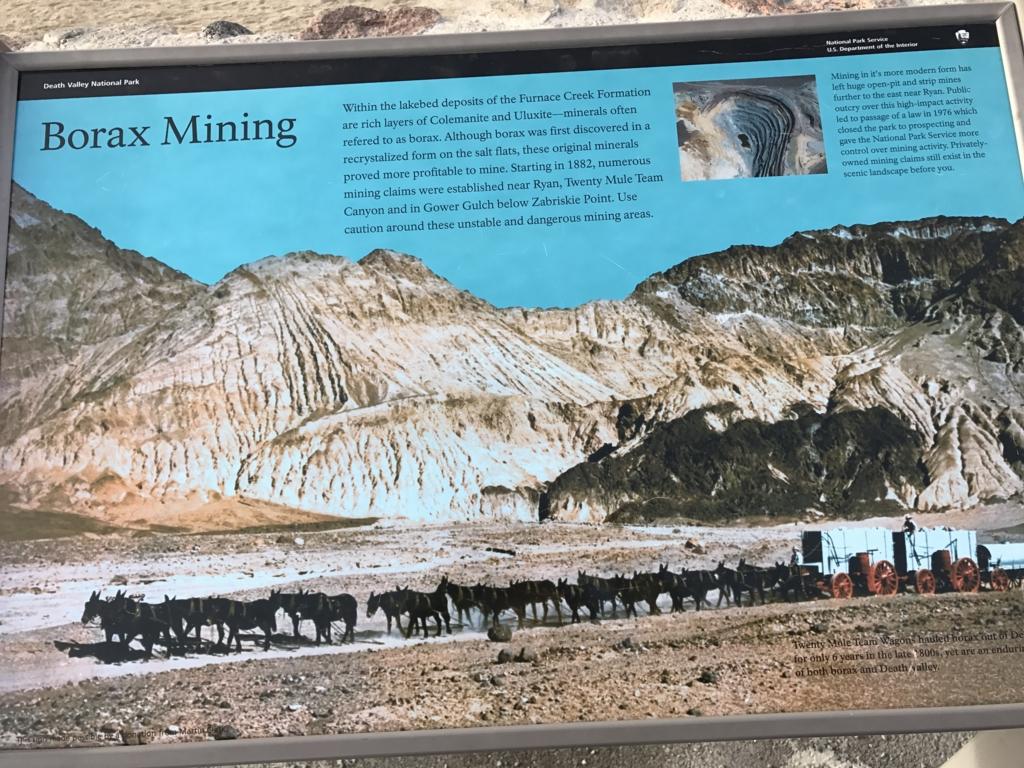 デスバレー国立公園 Dantes View、Twenty-mule team 案内板