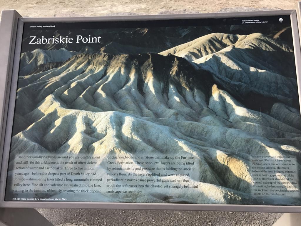 デスバレー国立公園 Dantes View、Zabriskie Point 案内板