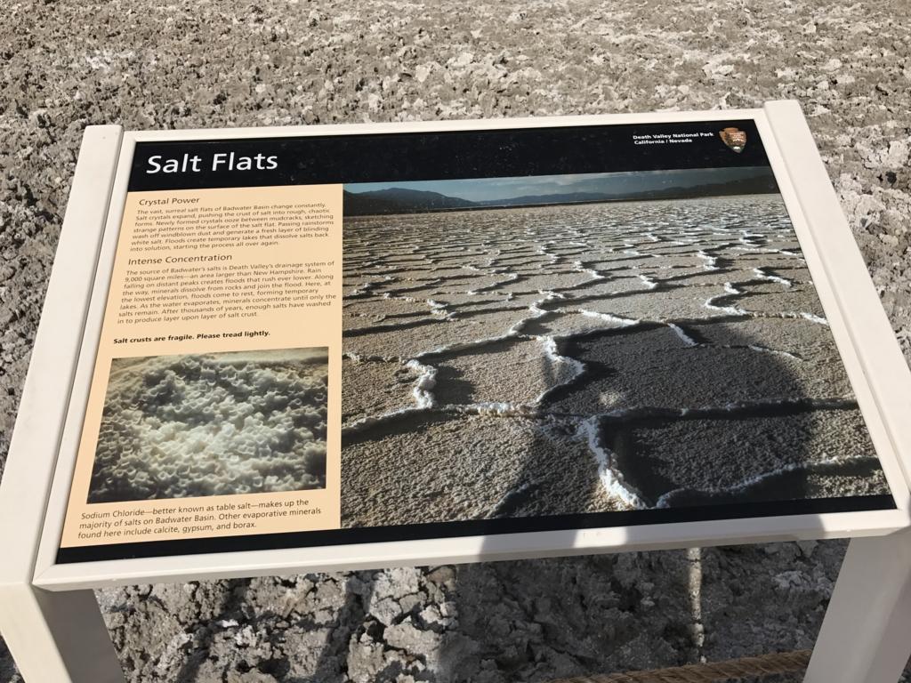 デスバレー国立公園 Bad Water Salt Flats 案内板