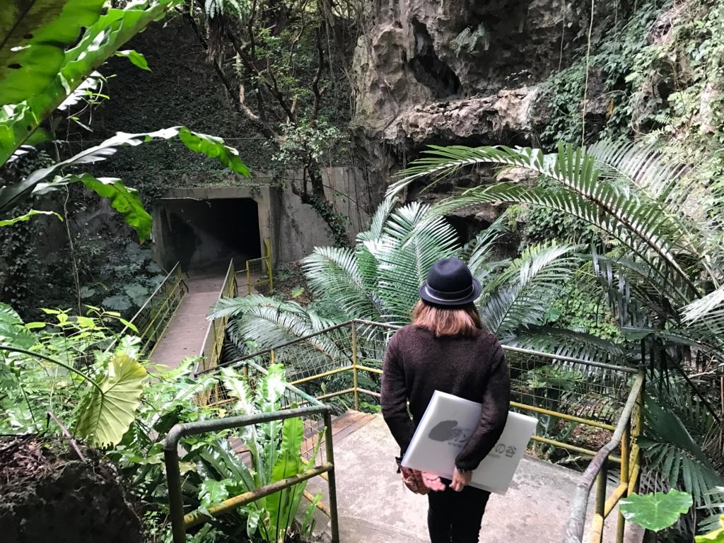 沖縄県「ガンガラーの谷」 人口トンネル 上は、一般道路