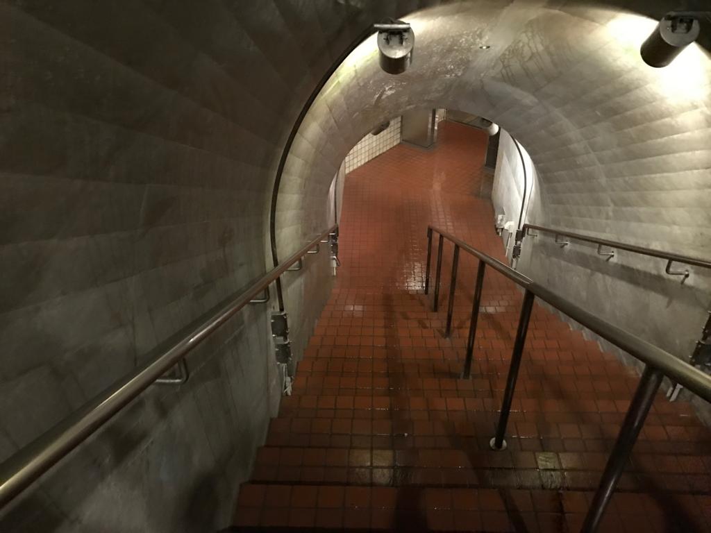 沖縄県「おきなわワールド」玉泉洞 入口 階段で