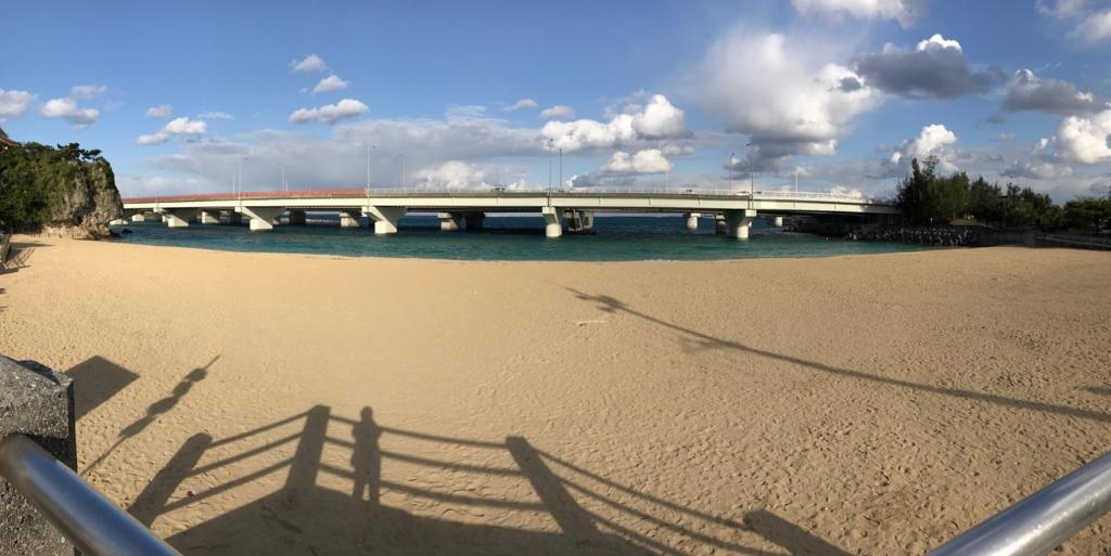 沖縄県 「波の上ビーチ」砂浜 パノラマ撮影
