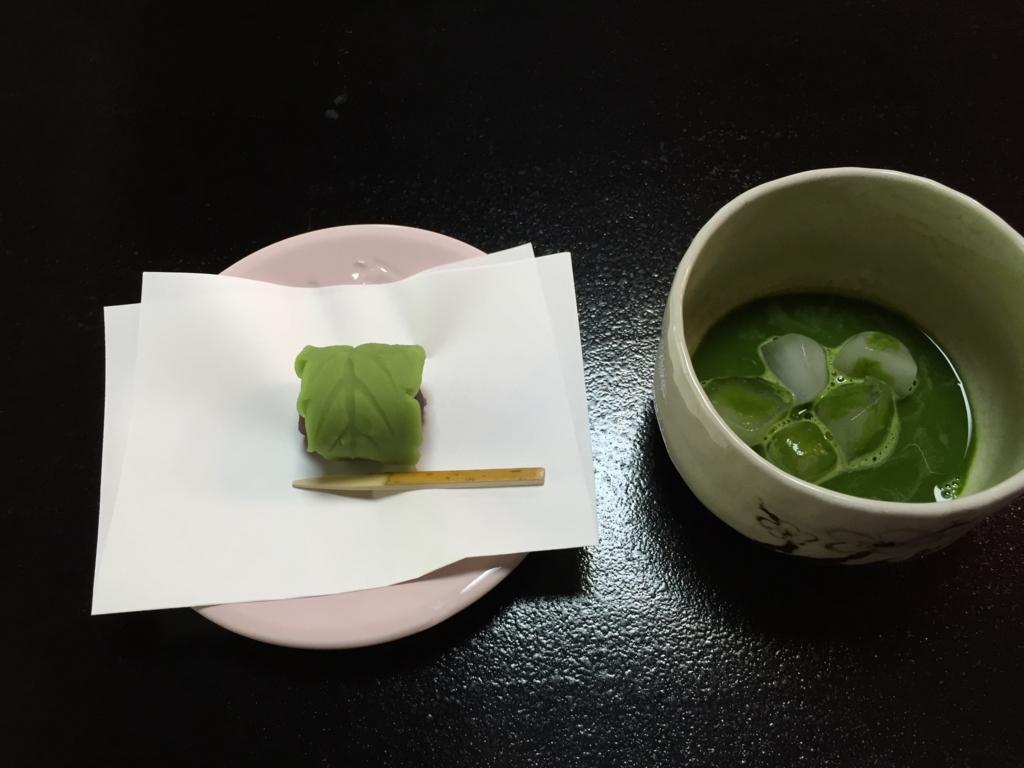 京都府 長岡天満宮 喫茶 和菓子と冷たい抹茶