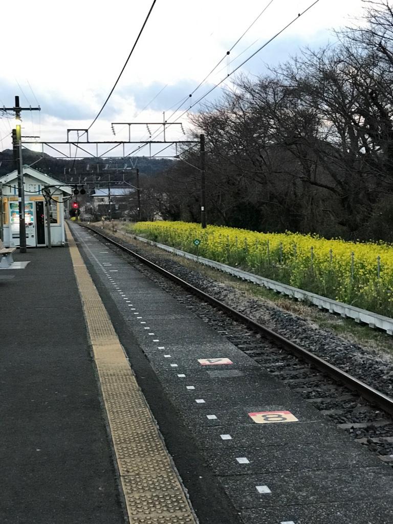 JR上総湊駅 3月 夕刻のホーム