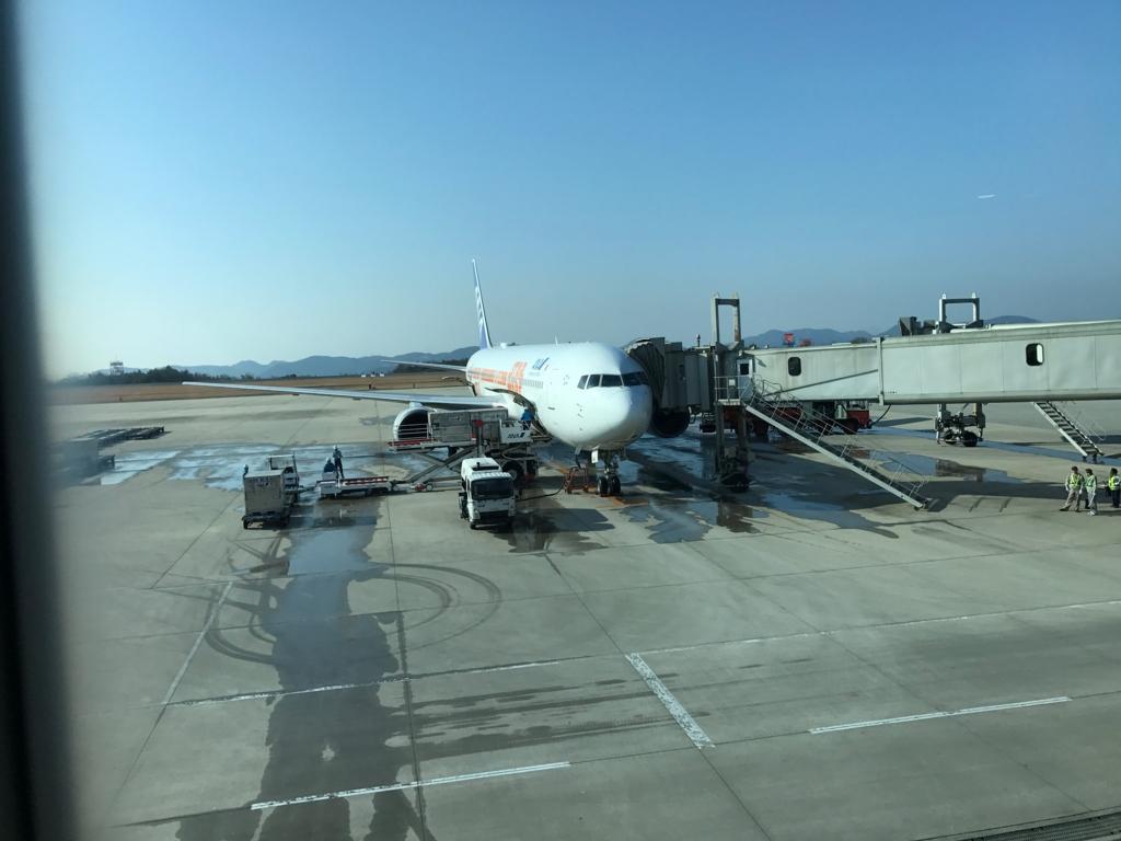 広島空港 ANA STAR WARS JETS で到着