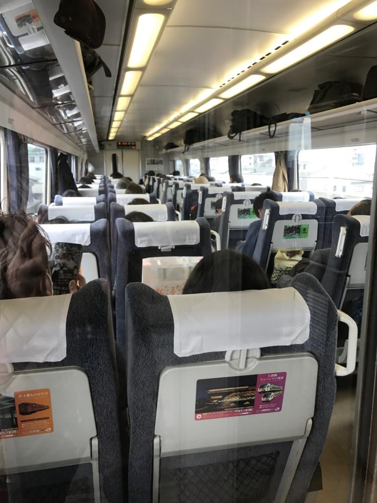 JR予讃線 岡山-松山 「しおかぜ」自由席 車内 満席