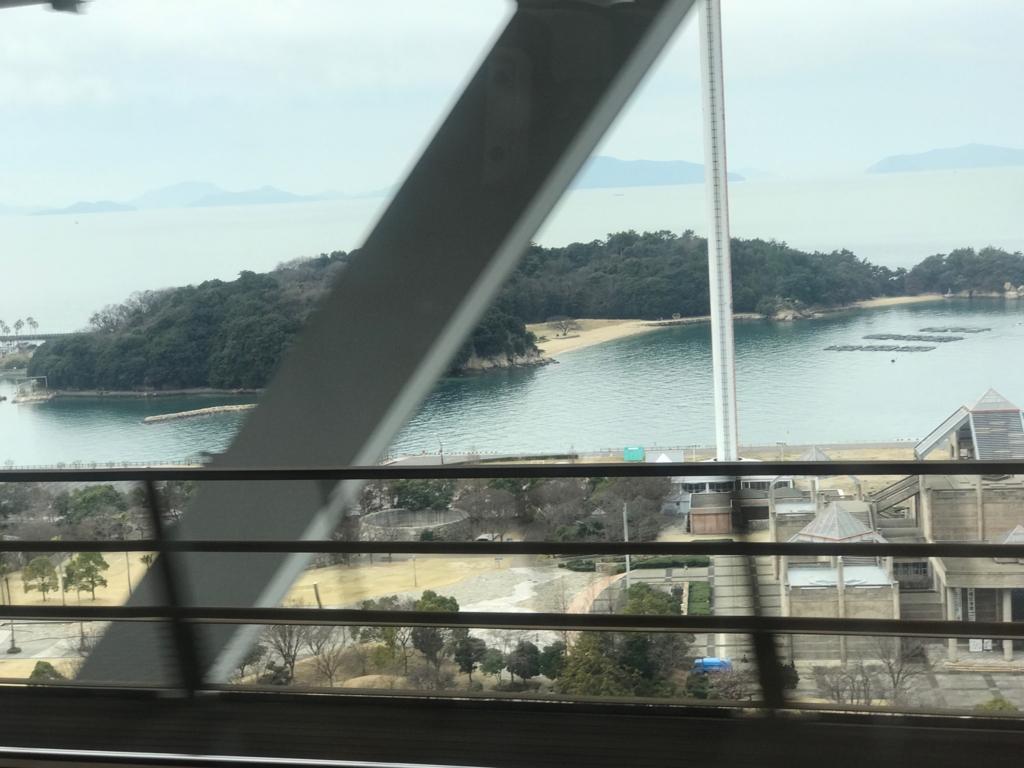 JR予讃線 岡山-松山 「しおかぜ」瀬戸大橋 通過中 鉄骨が邪魔です...