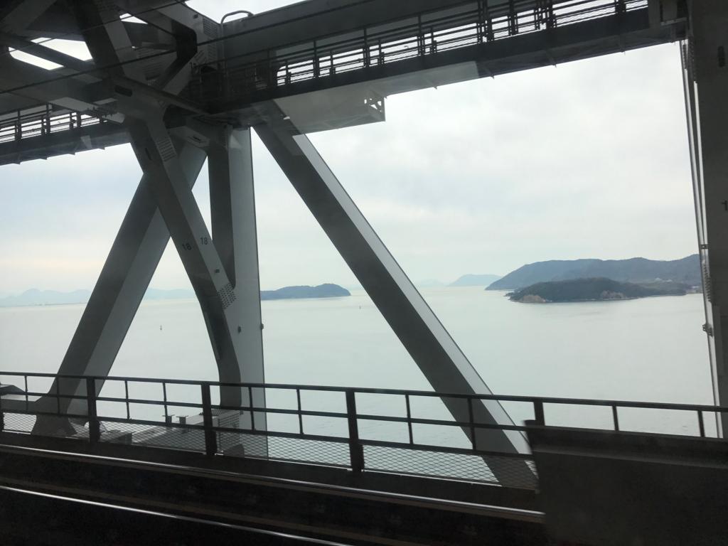 JR予讃線 岡山-松山 「しおかぜ」瀬戸大橋 通過中 天気悪いです