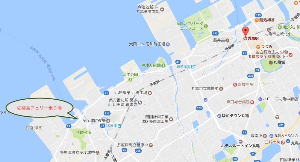 香川県 丸亀駅から多度津高フェリー乗り場 マップ