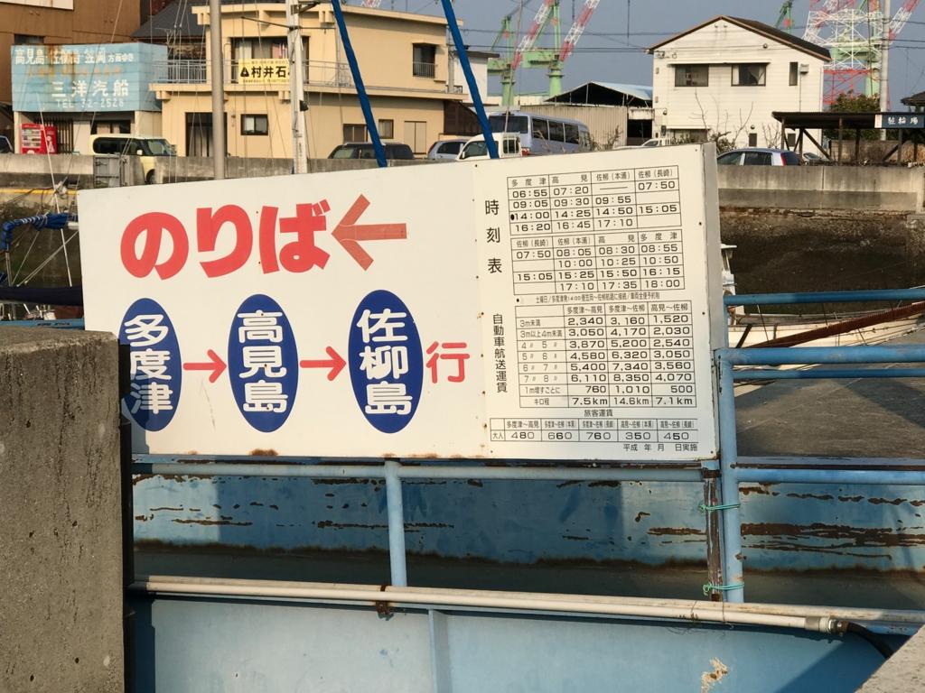香川県 JR多度津港 高見島,佐柳島 フェリー時刻表