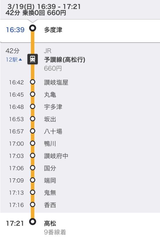 JR在来線で 多度津駅から高松駅へ
