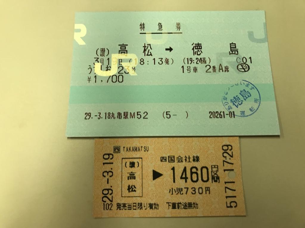 JR高松駅ー徳島駅 特急「うずしお」切符