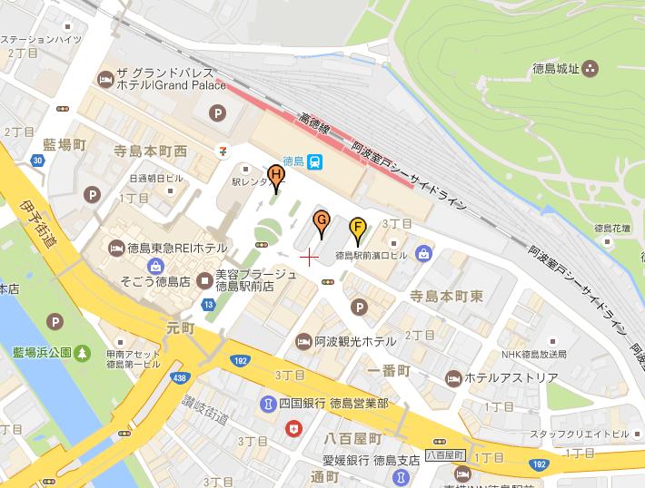 「ドリーム徳島」徳島駅 高速バス 乗り場マップ
