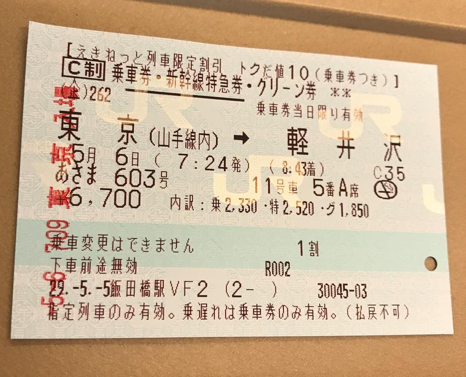 「あさま603号」東京-軽井沢 グリーン車 切符