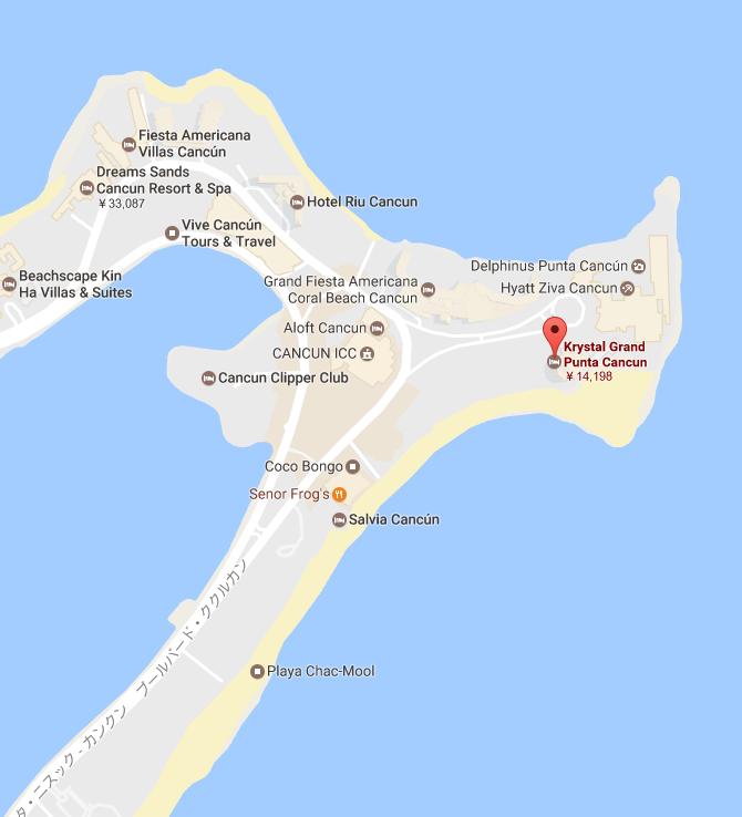 メキシコ カンクン 「クリスタル グランド プンタ カンクン」ホテル周辺マップ