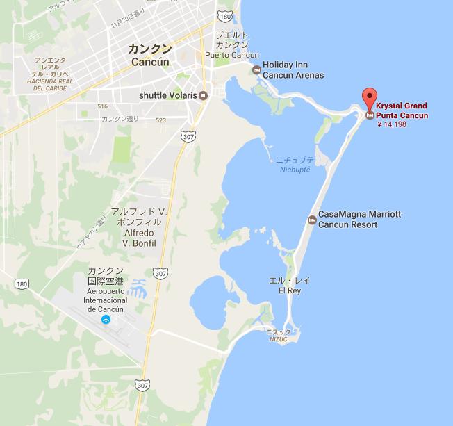 カンクーン 宿泊先「Krystal Grand Punta Cancun」から国際空港カンクーンへのマップ