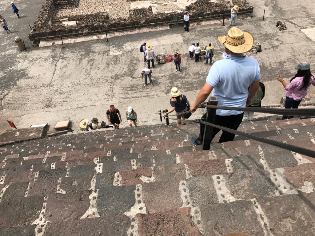 メキシコ テオティワカン遺跡 「月のピラミッド」階段はロープを使って