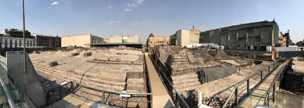 メキシコシティ テンプロ・マヨール遺跡 パノラマ